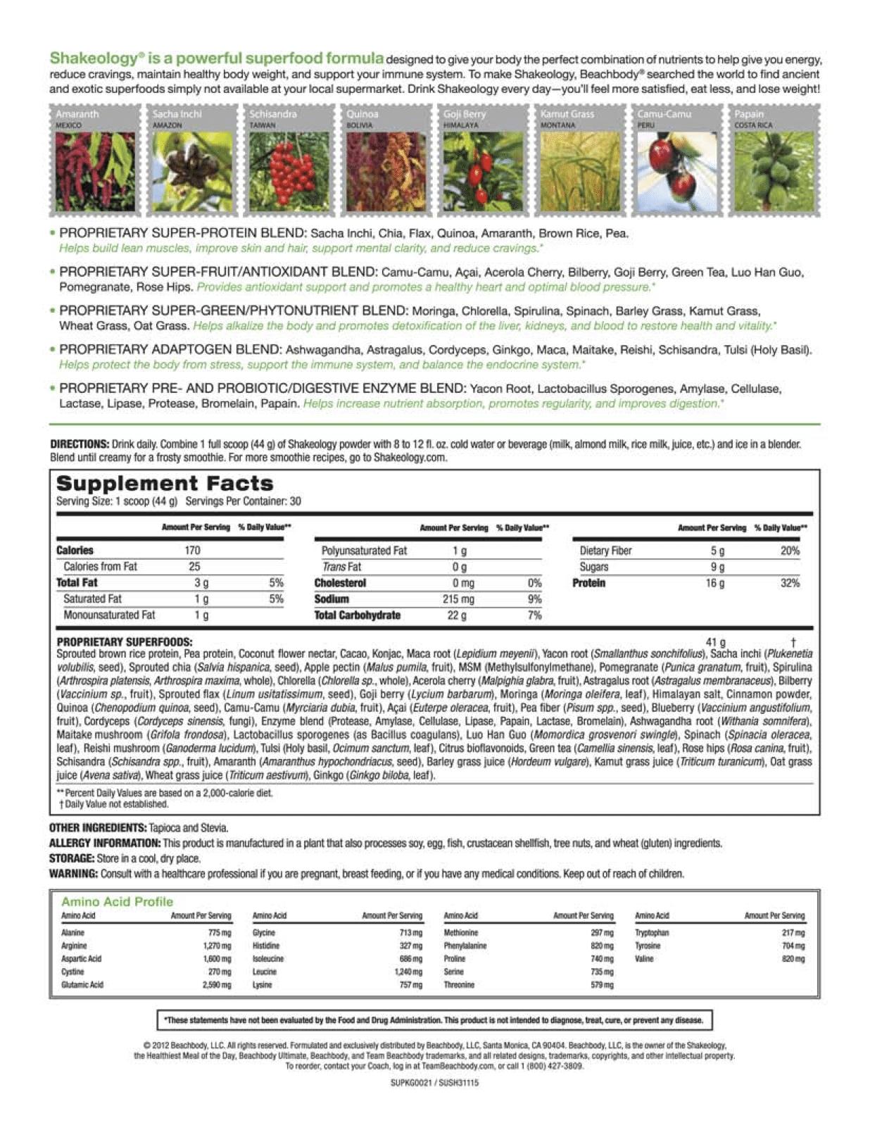 cholocate vegan shakeology ingredients